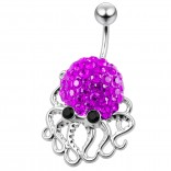 Cute Belly Button Ring Dangle Unique 14g 10mm 3/8 316LVM Surgical Steel Sexy Dangle Unusual Octopus Navel Piercing  - Amethyst