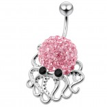 Cute Belly Button Ring Dangle Unique 14g 10mm 3/8 316LVM Surgical Steel Sexy Dangle Unusual Octopus Navel Piercing  - Rose