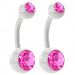 2pc 14g Rose Pink Belly Button Rings 10mm 3/8 Flexible Acrylic Clear Plastic Crystal Gem Navel Ring