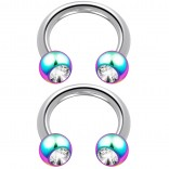 2pc 14 Guage Circular Barbell Earrings Daith Forward Helix 14g Surgical Steel Tragus Anti Rook Rim Ear Lobe Eyebrow Lip Cartilage Pinna Bridge CZ Cubic Zirconia Rainbow