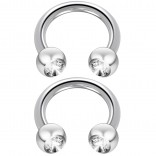 2pc 14 Guage Circular Barbell Earrings Daith Forward Helix 14g Surgical Steel Tragus Anti Rook Rim Ear Lobe Eyebrow Lip Cartilage Pinna Bridge CZ Cubic Zirconia