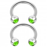 2pc 14 Guage Cirular Barbell Horseshoe Cartilage Earrings 10mm Tragus Helix Septum 14g Peridot Piercing Jewelry
