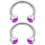 2pc 14 Guage Cirular Barbell Horseshoe Cartilage Earrings 12mm Tragus Helix Septum 14g Amethyst Piercing Jewelry