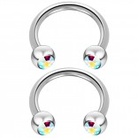 2pc 14 Guage Cirular Barbell Horseshoe Cartilage Earrings 12mm Tragus Helix Septum 14g Aurora Borealis Piercing Jewelry