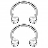 2pc 14 Guage Cirular Barbell Horseshoe Cartilage Earrings 12mm Tragus Helix Septum 14g Cubic Zirconia Piercing Jewelry