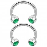 2pc 14 Guage Cirular Barbell Horseshoe Cartilage Earrings 12mm Tragus Helix Septum 14g Emerald Piercing Jewelry