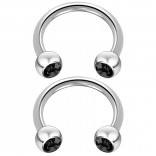 2pc 14 Guage Cirular Barbell Horseshoe Cartilage Earrings 12mm Tragus Helix Septum 14g Jet Piercing Jewelry