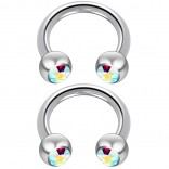 2pc 14 Guage Cirular Barbell Horseshoe Cartilage Earrings 8mm Tragus Helix Septum 14g Aurora Borealis Piercing Jewelry
