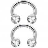 2pc 14 Guage Cirular Barbell Horseshoe Cartilage Earrings 8mm Tragus Helix Septum 14g Cubic Zirconia Piercing Jewelry