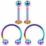 16g 8mm Cartilage Piercing Earrings 16 Gauge Rainbow 10mm Earring Pierced Hoop For Ears Hypoallergenic Labret Studs Piercing Jewelry Rings Surgical Steel