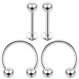 16g 8mm Cartilage Piercing Earrings 16 Gauge 10mm Earring Pierced Hoop For Ears Hypoallergenic Labret Studs Piercing Jewelry Rings Surgical Steel