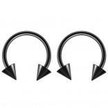 2pc 14g Surgical Stainless Steel Black Horseshoe Hoop 4mm Spike Circular Barbells Earrings Cartilage Helix Septum Nose Lip Rings - 12mm