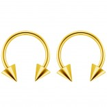 2pc 14g Surgical Stainless Steel Gold Horseshoe Hoop 4mm Spike Circular Barbells Earrings Cartilage Helix Septum Nose Lip Rings - 12mm