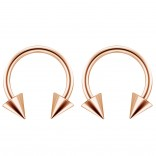 2pc 14g Surgical Stainless Steel Rose Gold Horseshoe Hoop 4mm Spike Circular Barbells Earrings Cartilage Helix Septum Nose Lip Rings - 10mm