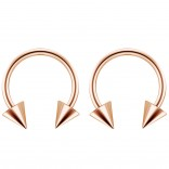 2pc 14g Surgical Stainless Steel Rose Gold Horseshoe Hoop 4mm Spike Circular Barbells Earrings Cartilage Helix Septum Nose Lip Rings - 12mm