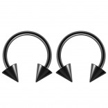 2pc 14g Surgical Stainless Steel Black Horseshoe Hoop 5mm Spike Circular Barbells Earrings Cartilage Helix Septum Nose Lip Rings - 12mm