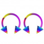 2pc 14g Surgical Stainless Steel Rainbow Horseshoe Hoop 5mm Spike Circular Barbells Earrings Cartilage Helix Septum Nose Lip Rings - 10mm