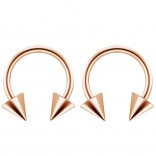 2pc 14g Surgical Stainless Steel Rose Gold Horseshoe Hoop 5mm Spike Circular Barbells Earrings Cartilage Helix Septum Nose Lip Rings - 10mm