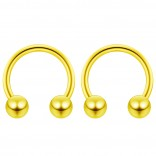 2pc 14g Gold Surgical Stainless Steel Horseshoe Hoop 5mm Ball Circular Barbells Earrings Cartilage Helix Septum Nose Lip Rings - 10mm