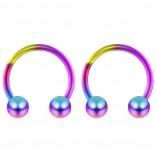 2pc 14g Rainbow Surgical Stainless Steel Horseshoe Hoop 5mm Ball Circular Barbells Earrings Cartilage Helix Septum Nose Lip Rings - 12mm