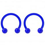 2pc 14g Dental-Grade Acrylic Blue Horseshoe Hoop 4mm Ball Circular Barbells Earrings Cartilage Helix Septum Nose Lip Rings - 10mm