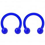 2pc 14g Dental-Grade Acrylic Blue Horseshoe Hoop 4mm Ball Circular Barbells Earrings Cartilage Helix Septum Nose Lip Rings - 8mm