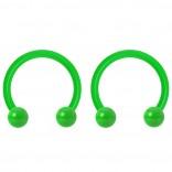 2pc 14g Dental-Grade Acrylic Green Horseshoe Hoop 4mm Ball Circular Barbells Earrings Cartilage Helix Septum Nose Lip Rings - 10mm
