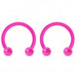 2pc 14g Dental-Grade Acrylic Pink Horseshoe Hoop 4mm Ball Circular Barbells Earrings Cartilage Helix Septum Nose Lip Rings - 10mm