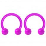 2pc 14g Dental-Grade Acrylic Purple Horseshoe Hoop 4mm Ball Circular Barbells Earrings Cartilage Helix Septum Nose Lip Rings - 8mm