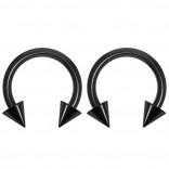2pc 14g Dental-Grade Acrylic Black Horseshoe Hoop 4mm Spike Circular Barbells Earrings Cartilage Helix Septum Nose Lip Rings - 8mm