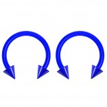 2pc 14g Dental-Grade Acrylic Blue Horseshoe Hoop 4mm Spike Circular Barbells Earrings Cartilage Helix Septum Nose Lip Rings - 10mm