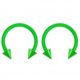 2pc 14g Dental-Grade Acrylic Green Horseshoe Hoop 4mm Spike Circular Barbells Earrings Cartilage Helix Septum Nose Lip Rings - 10mm