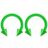 2pc 14g Dental-Grade Acrylic Green Horseshoe Hoop 4mm Spike Circular Barbells Earrings Cartilage Helix Septum Nose Lip Rings - 8mm