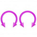 2pc 14g Dental-Grade Acrylic Purple Horseshoe Hoop 4mm Spike Circular Barbells Earrings Cartilage Helix Septum Nose Lip Rings - 10mm