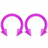 2pc 14g Dental-Grade Acrylic Purple Horseshoe Hoop 4mm Spike Circular Barbells Earrings Cartilage Helix Septum Nose Lip Rings - 8mm