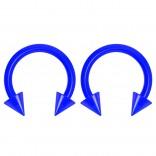 2pc 14g Dental-Grade Clear Acrylic Blue Horseshoe Hoop 4mm Spike Circular Barbells Earrings Cartilage Helix Septum Nose Lip Rings - 8mm