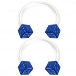 2pc 14g Blue Dice Flexible Bioflex Circular Barbell Horseshoe Septum Ring Bioplast Piercing 10mm