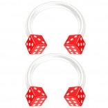 2pc 14g Dice Flexible Bioflex Circular Barbell Horseshoe Septum Ring Bioplast Piercing 10mm Red