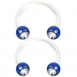 2pc 14g CZ Crystal Flexible Bioflex Circular Barbell Horseshoe Septum Ring Bioplast 10mm Blue