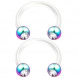 2pc 14g CZ Crystal Flexible Bioflex Circular Barbell Horseshoe Septum Ring Piercing 10mm Rainbow