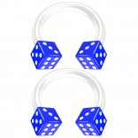 2pc 14g Dice Flexible Bioflex Circular Barbell Horseshoe Septum Ring Bioplast Piercing 8mm Blue