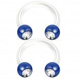 2pc 14g CZ Crystal Flexible Bioflex Circular Barbell Horseshoe Septum Ring Bioplast 8mm Blue