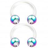 2pc 14g CZ Crystal Flexible Bioflex Circular Barbell Horseshoe Septum Ring Piercing 8mm Rainbow