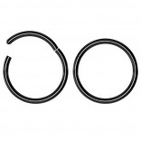 2pc 18g Hinged Clicker Captive Bead Ring Black 10mm Helix Earring Nose Hoop Rook Cartilage Tragus Lip Septum Forward Eyebrow Ear Lobe Nostril Rings Seamless Surgical Steel