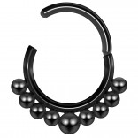 16g Hinged Segment Rings Steel Septum Nostril Seamless Clicker Hoop Cartilage Nose 10mm - Black