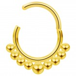 16g Hinged Segment Rings Steel Septum Nostril Seamless Clicker Hoop Cartilage Nose 10mm - Gold