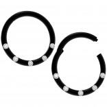 2pc 18g CZ Black Clicker Segmented Lip Ring Earring Hoop Cartilage Eyebrow Nose Forward Helix Tragus