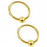 2pc 18 Gauge Captive Bead Ring Gold Anodized Steel Hypoallergenic Septum Earrings 8mm 5/16