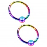 2pc 18 Gauge Captive Bead Ring Rainbow Anodized Stainless Steel Hypoallergenic Septum Earrings 8mm