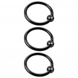 3pc 16g Captive Bead Ring Lip Rook Forward Helix Cartilage Septum Rim Tragus Belly Navel Eyebrow Conch 10mm Black